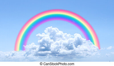 A regular blue sky background with a perfect round rainbow