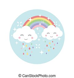 Clouds and rainbow colorful cartoon design