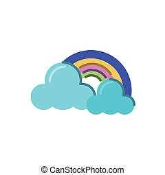 clouds and rainbow icon, flat style icon