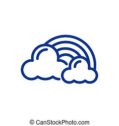 clouds and rainbow icon, line style icon