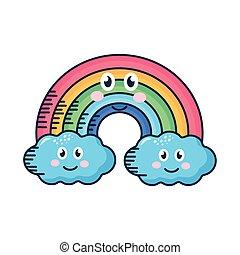 clouds and rainbow kawaii weather comic character
