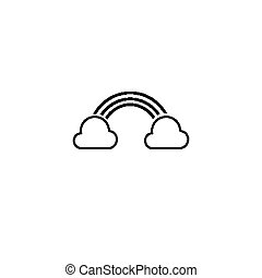 clouds and rainbow line icon