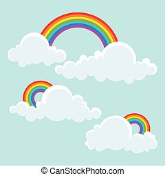 Clouds and Rainbow. Vector Illustration.