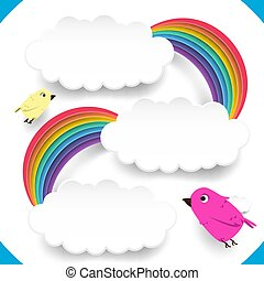 Clouds and rainbow with cute birds