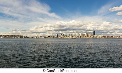 Clouds and sky over Seattle WA skyline from Alki Beach WA 4k UHD time lapse