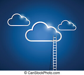 clouds and stairs, illustration design over a blue background