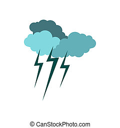 Clouds and storm icon, flat style