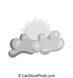 Clouds and sun icon, black monochrome style