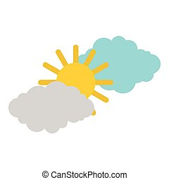 Clouds and sun icon, flat style