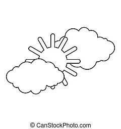 Clouds and sun icon, outline style