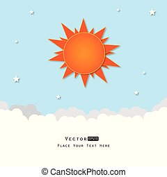 Clouds and sun on blue sky - Vector