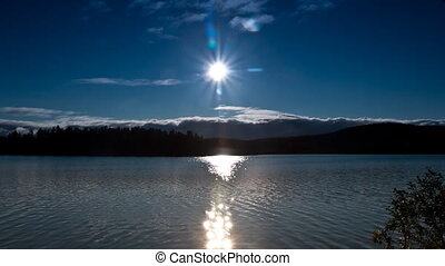 clouds and sun over the lake