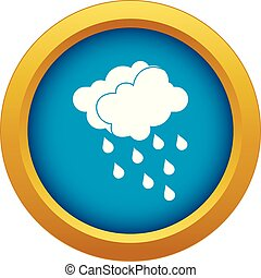Clouds and water drops icon blue vector isolated