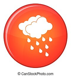 Clouds and water drops icon, flat style