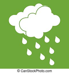 Clouds and water drops icon green