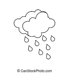 Clouds and water drops icon, outline style
