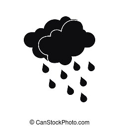 Clouds and water drops icon, simple style