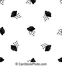 Clouds and water drops pattern seamless black
