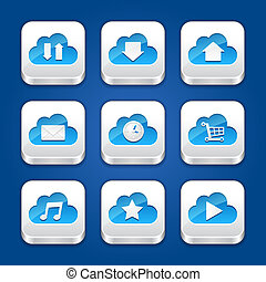 clouds., apps, collection, icônes