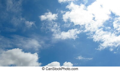 Clouds are Moving in the Blue Sky. TimeLapse - Clouds are...