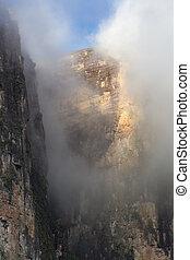 Clouds at Kukenan tepui or Mount Roraima. Venezuela