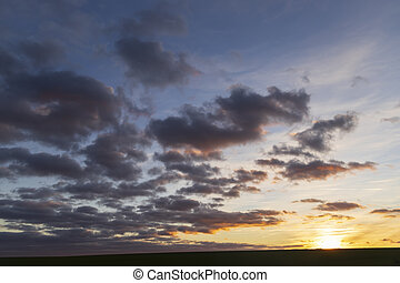 clouds at sunset in winter