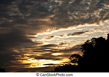 clouds at sunset on the beautiful sky