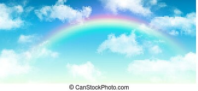 Clouds background blue sky with rainbow