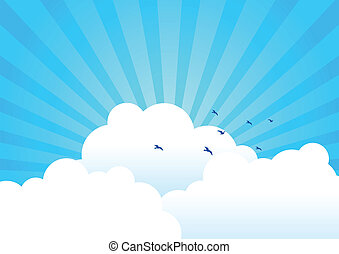 Clouds Background - Vector illustration of clouds with light...