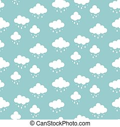 Clouds background vector. Rain drops pattern seamless.