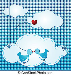Clouds background with cute birds