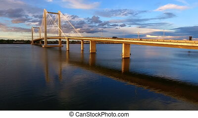 Clouds Cable Bridge Intercity Columbia River Kennewick Pasco...