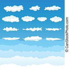 Illustration of a set of various cartoon clouds and cloudscape on a blue sky gradient background