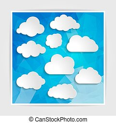 clouds collection on the Abstract Blue Triangular Polygonal back