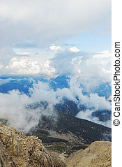Clouds-covered high mountains. Tahtali, Turkey, Kemer, ...