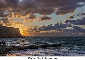 desert pier and storm sea