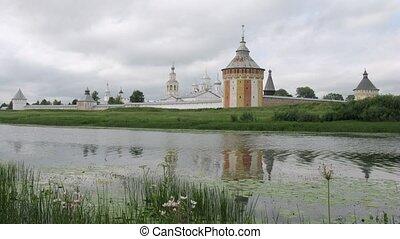 Clouds fly above Spaso Prilutskij monastery in Vologda, time...