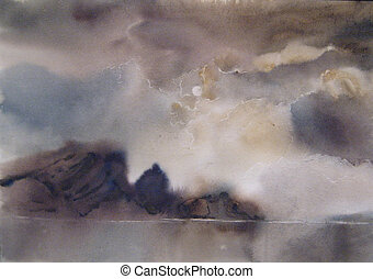 Clouds, fog over the lake, watercolor