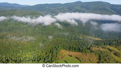 Clouds form in timelapse, due from orographic lift as air currents rise against the slopes of the Ukrainian Carpathian Mountains.