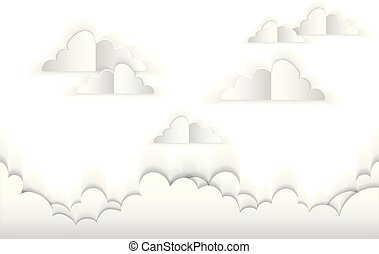 clouds from paper. vector illustration