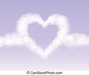 Clouds heart on pink romantic sky background. Vector...