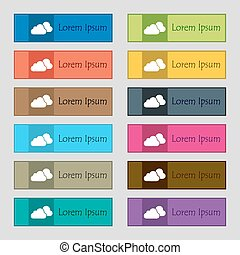 clouds icon sign. Set of twelve rectangular, colorful, beautiful, high-quality buttons for the site. Vector