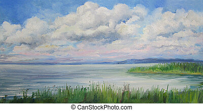 clouds illuminated by the sun over the river, painting oil on canvas
