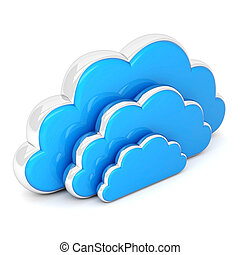clouds in 3d on white