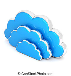 clouds in 3d on white - Clouds in 3D isolated on a white...