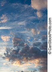 Clouds in blue sky after sunset
