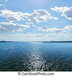 clouds in blue sky over river