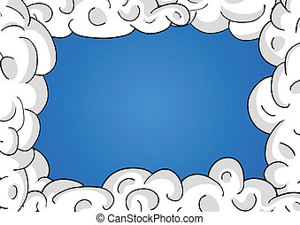 Clouds in blue sky. Vector frame