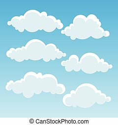 Clouds in blue sky. Vector Illustration.