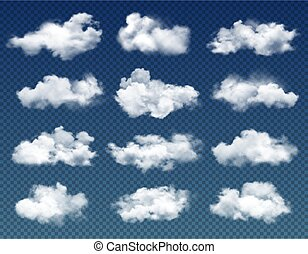 Clouds in cloudy sky realistic vector design on transparent background. Blue heaven with 3d white clouds, fluffy cumulus and rain fog, rainy weather, climate, meteorology and environment themes